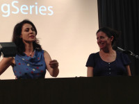 Claire Phillips, left, introduces guest speaker Aimee Bender for the LA Writers Reading Series.