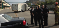 BOMB SQUAD: GCC Police, Glendale Fire Department and Police Chief Gary Montecuollo speak with the LA Sheriff Bomb Squad Monday morning at the entrance to the GCC parking structure and Lot C.