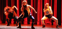 WORLD FUSION: Dancers A-Ya Hamano, Melissa Gonzalez and Nami Matsushita took first place at the ISA talent show Thursday along with teammates Chur Hyun Sung and Richard Fober.