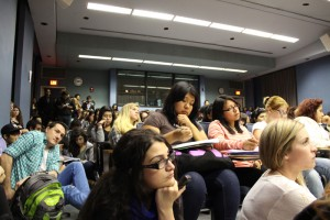 Students crowd Kreider Hall on April 4 to listen to social justice panelists.