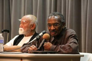 Hank Jones answers students questions at the social justice panel discussion on April 4 in Kreider Hall.