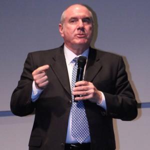 Farley Herzek, the interim president of East Los Angeles College, speaks at the GCC presidential forum.
